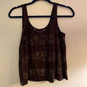 American Eagle Black Lace Back Tank Top